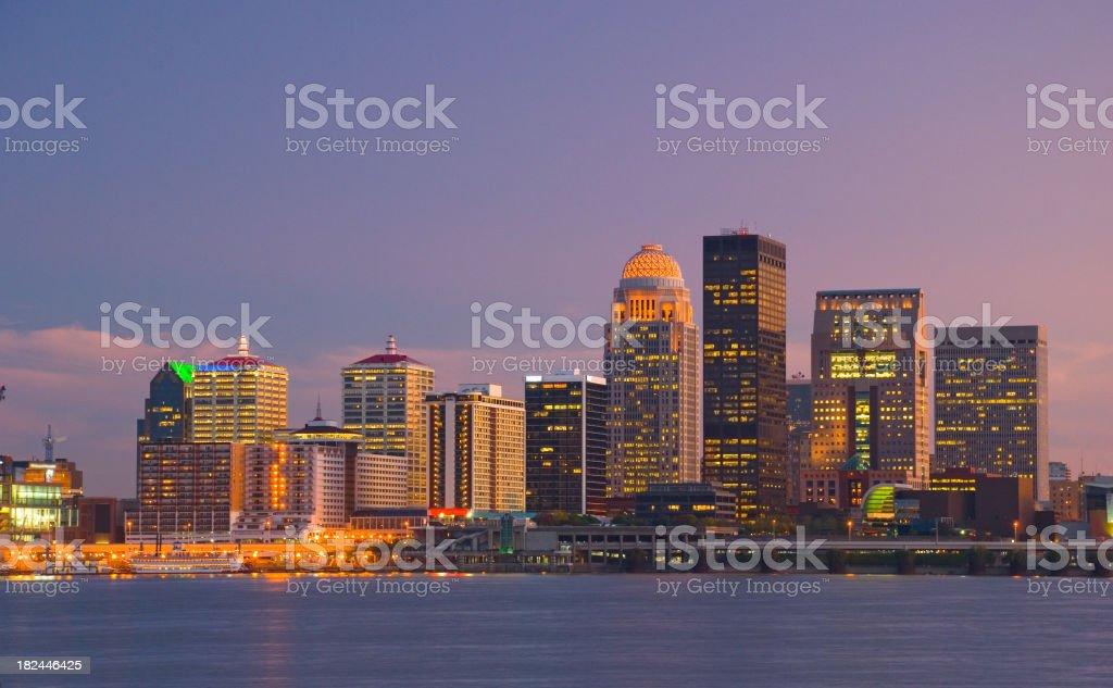 Louisville skyline at dusk stock photo