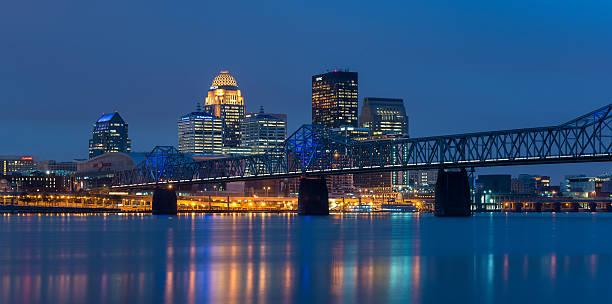 Louisville skyline at night stock photo