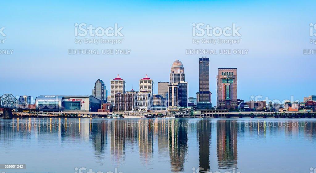 Louisville Skyline at Sunrise stock photo