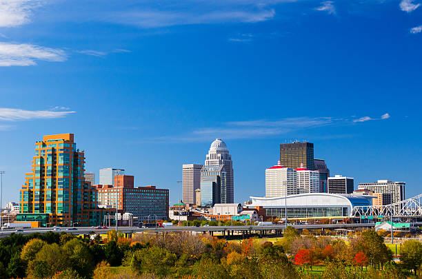 Louisville skyline view stock photo