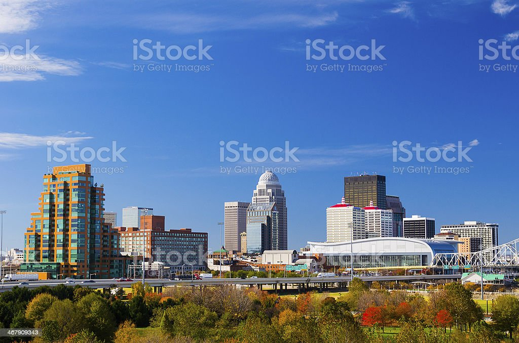 Louisville skyline view stock photo
