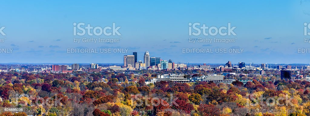 Louisville Skyline with Churchill Downs in the foregound stock photo