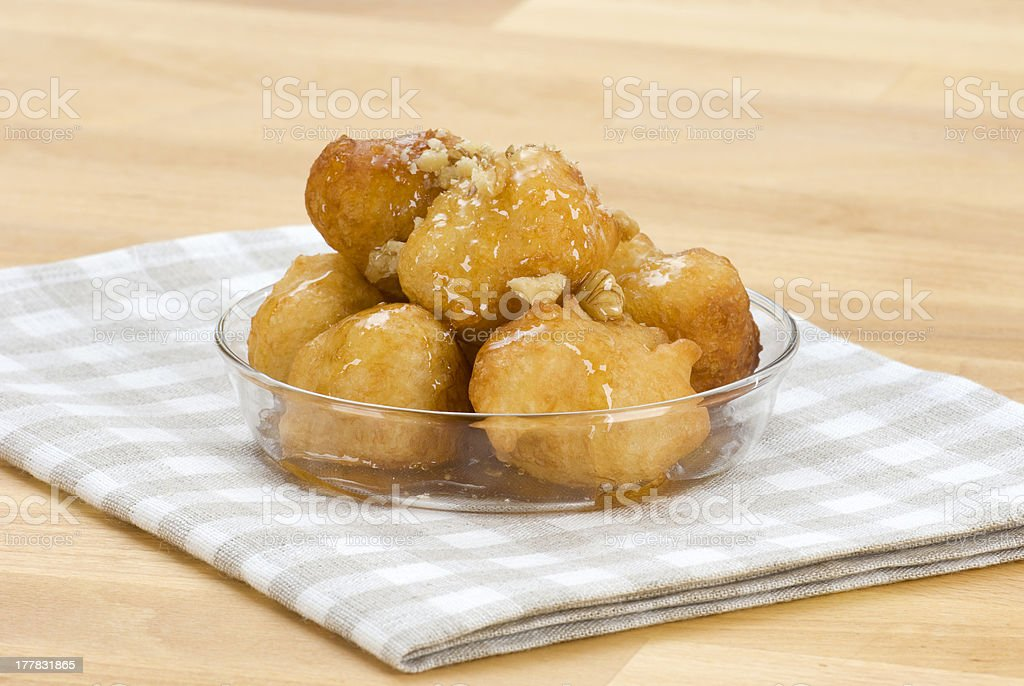 loukoumades(yeast fried balls) stock photo