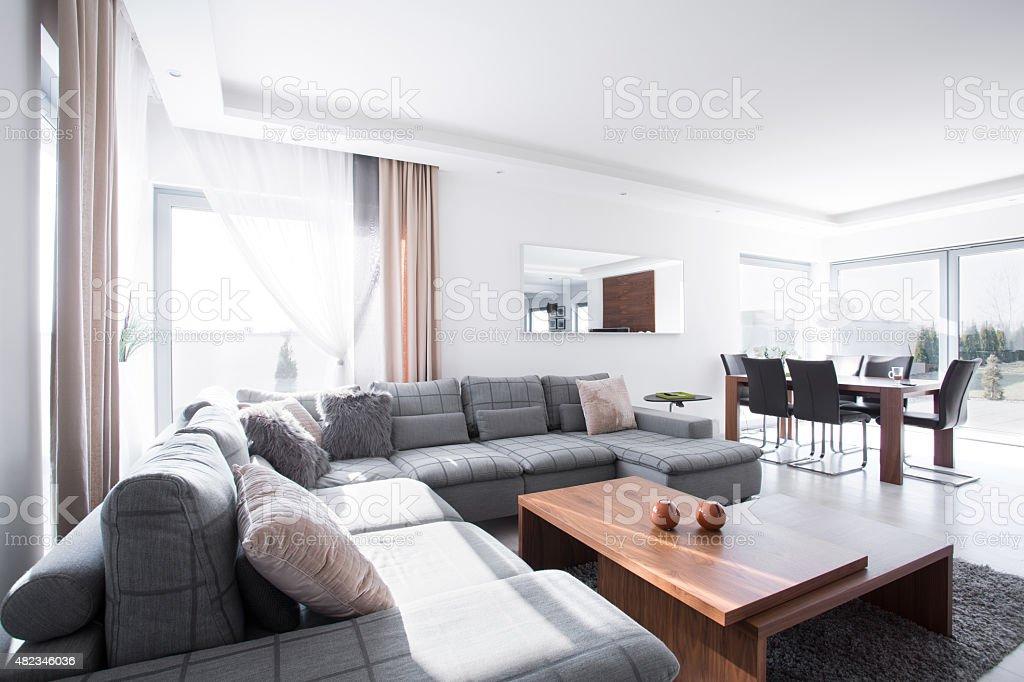 Lounge and dining hall stock photo