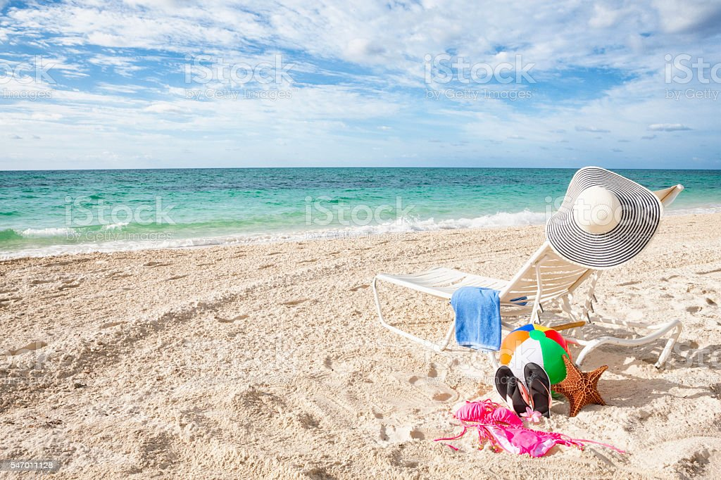 Pleasing Lounge Chair And Beach Items In The Bahamas Stock Photo Alphanode Cool Chair Designs And Ideas Alphanodeonline