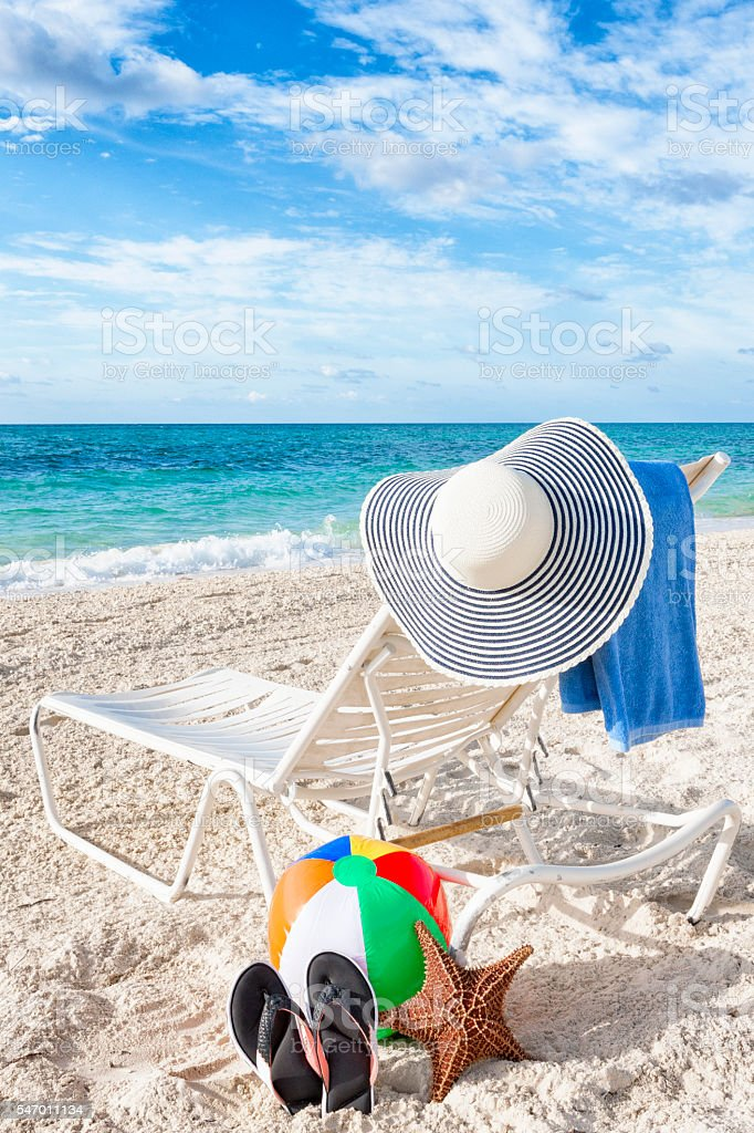 Pleasant Lounge Chair And Beach Items In The Bahamas Stock Photo Alphanode Cool Chair Designs And Ideas Alphanodeonline