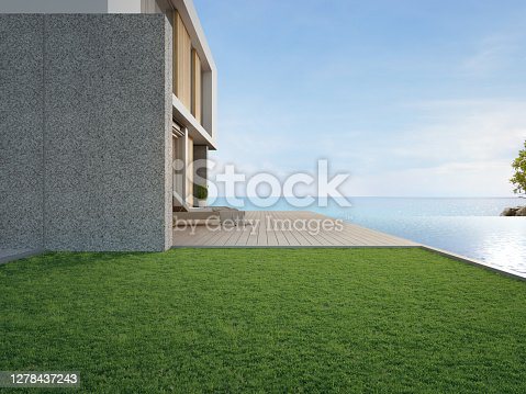 Building exterior 3d rendering with sea view.