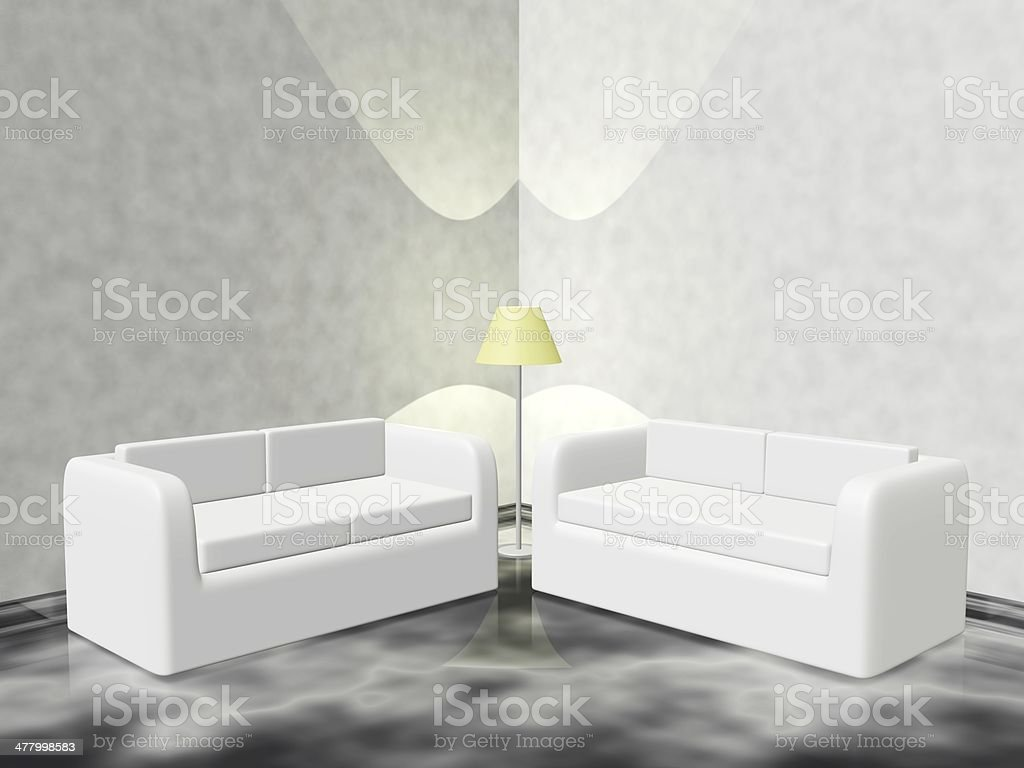 A 3d lounge corner scene with two white sofa couch and a pedestal lamp