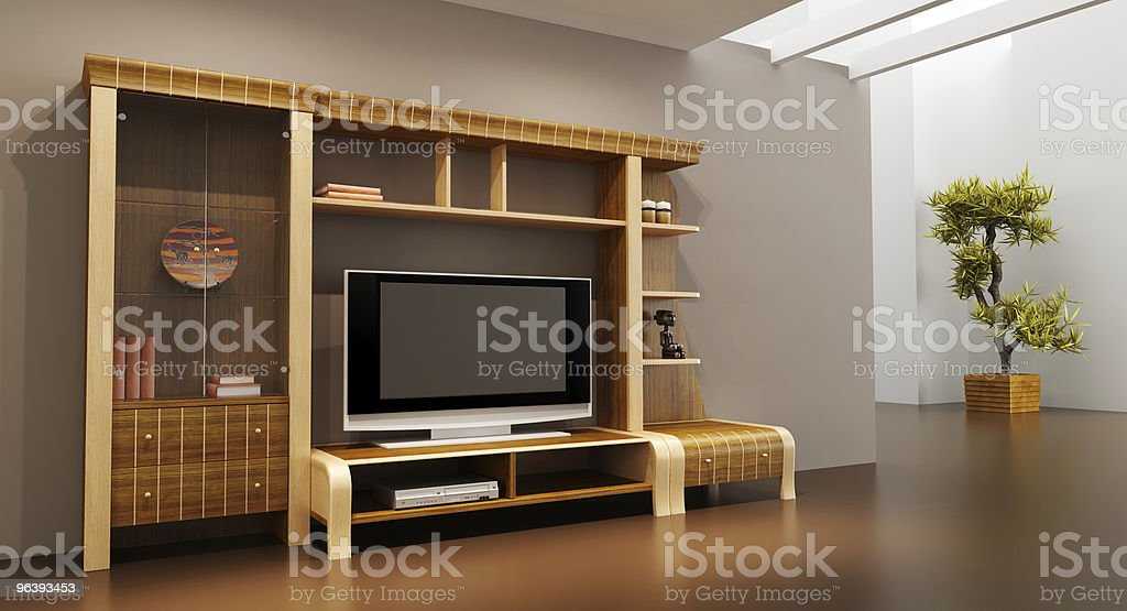 lounge room interior with bookshelf and TV - Royalty-free Apartment Stock Photo
