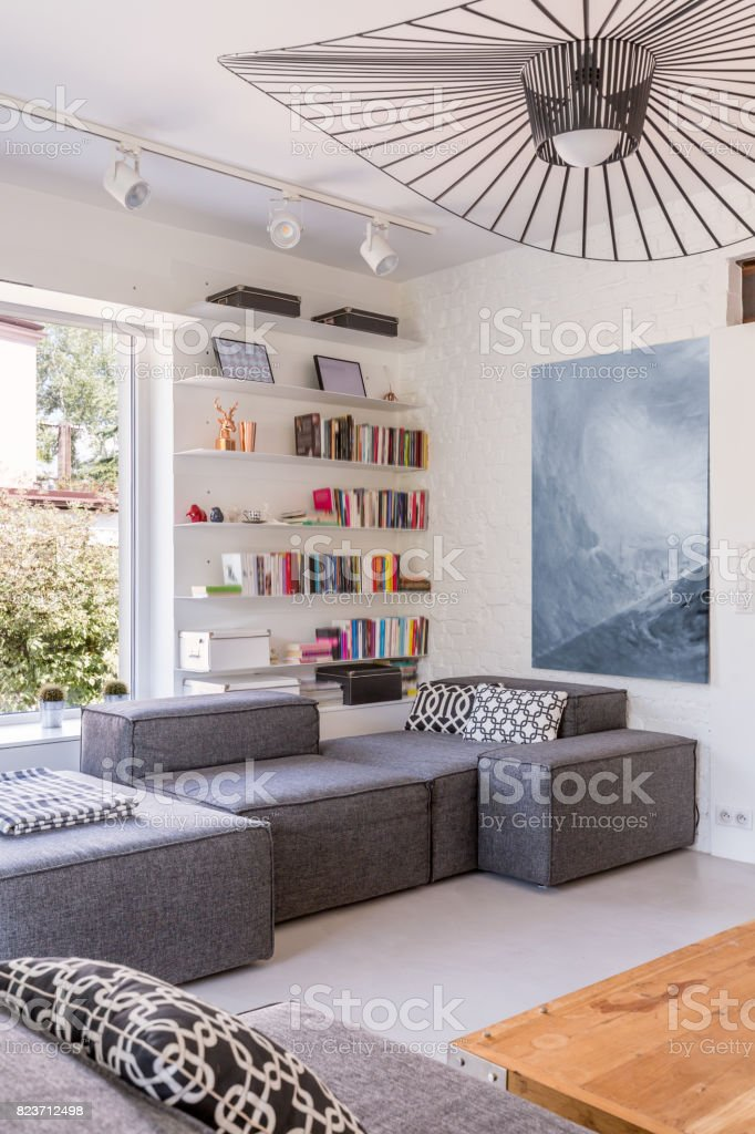 Lounge room with grey sofas stock photo