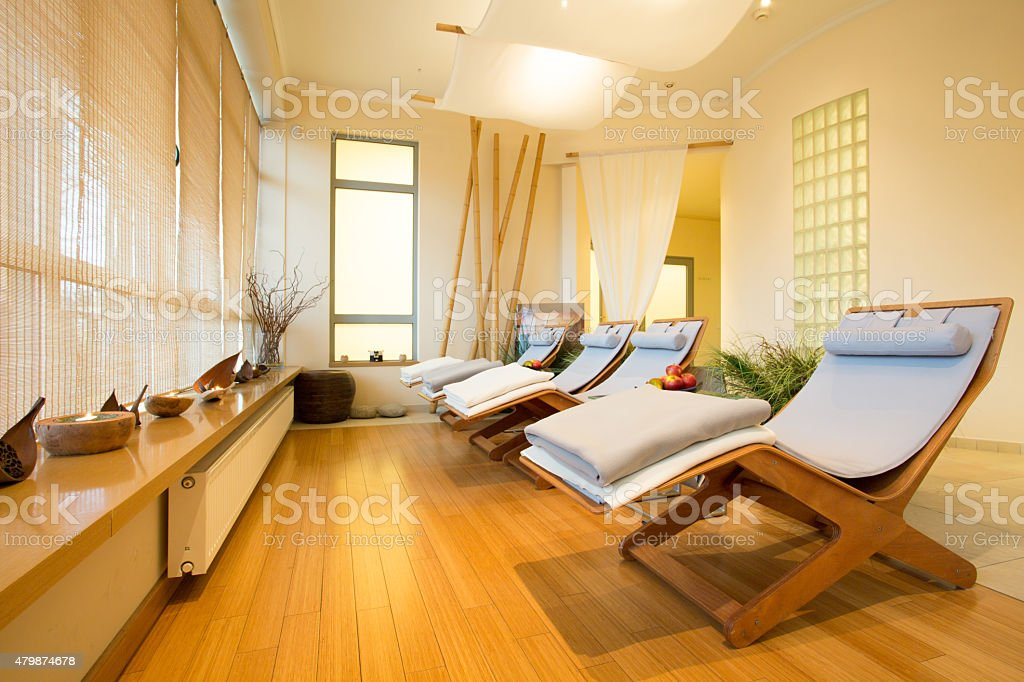 Loungers in spa room stock photo