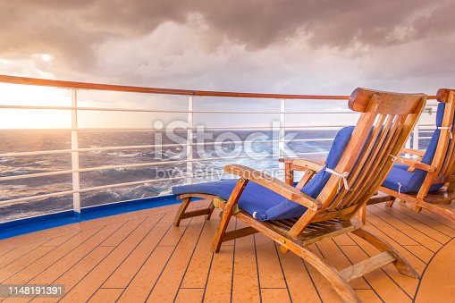 Lounging chair on a cruise ship looking to the horizon