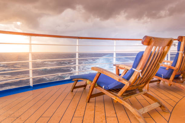 lounging chair on a cruise ship - cruise foto e immagini stock