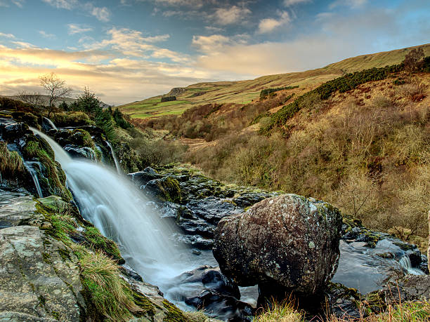 Loup of Fintry waterfall, Central Scotland. stock photo
