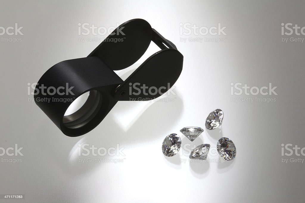Loupe and Gems royalty-free stock photo