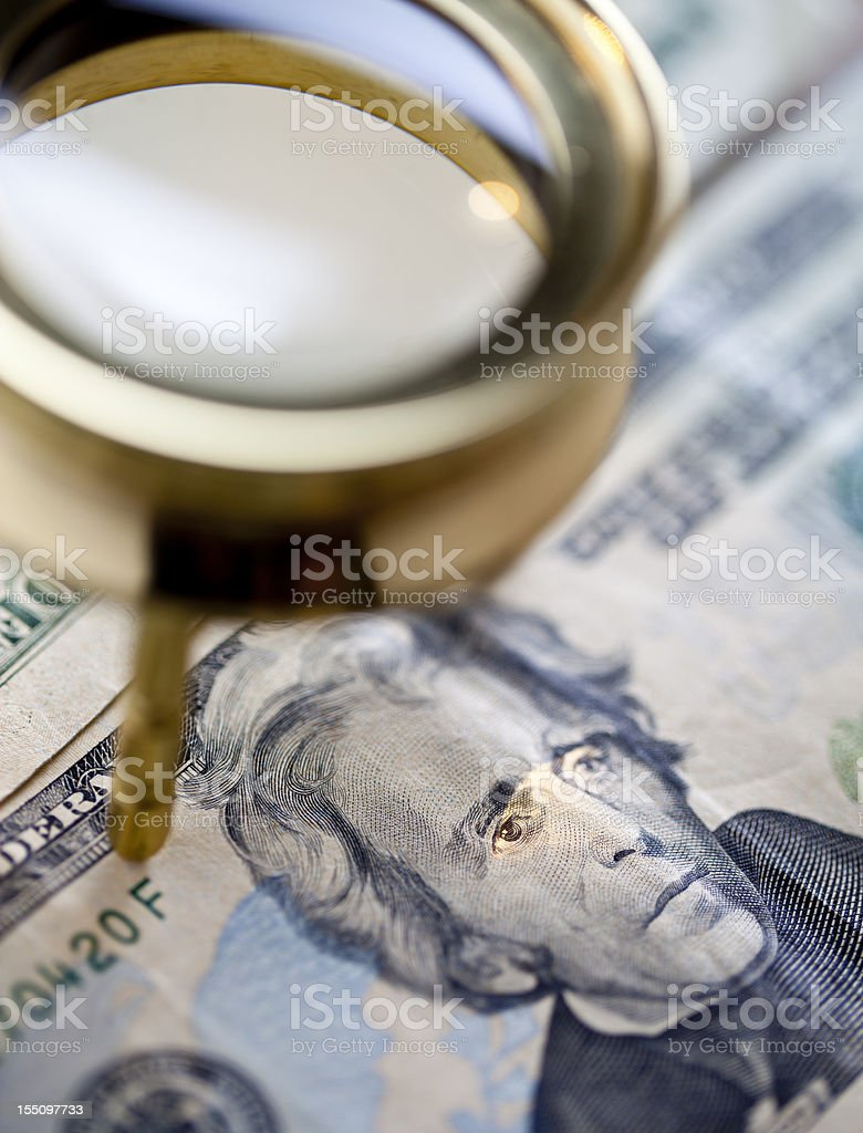 loupe on money royalty-free stock photo