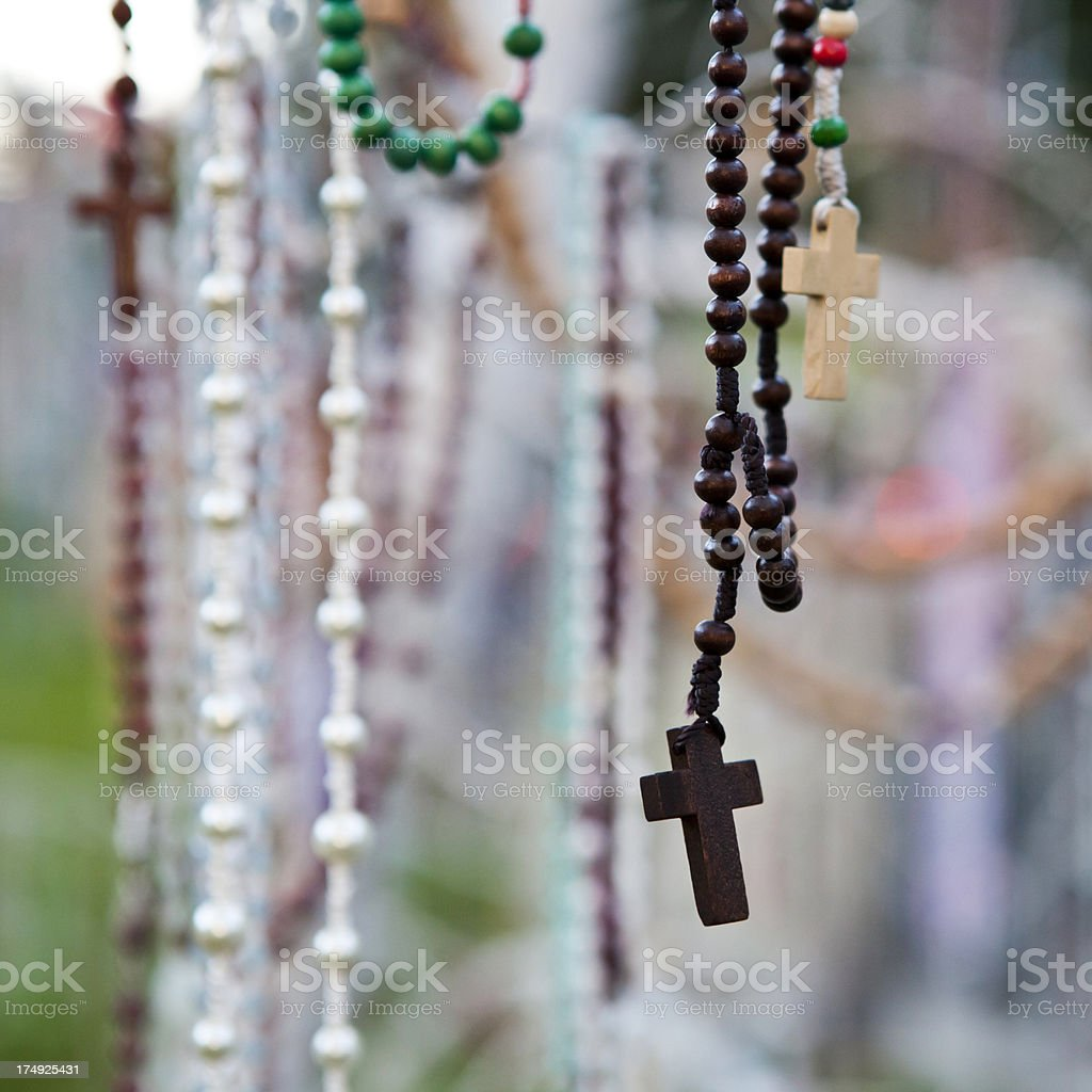 Lourdes Catholic Religion Crucifix Rosary royalty-free stock photo