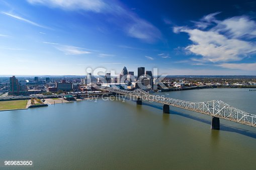 Louisville skyline aerial view with the Clark Memorial Bridge and the Ohio River in the foreground.