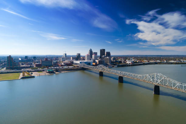 Lousville Skyline Aerial With Bridge and River stock photo