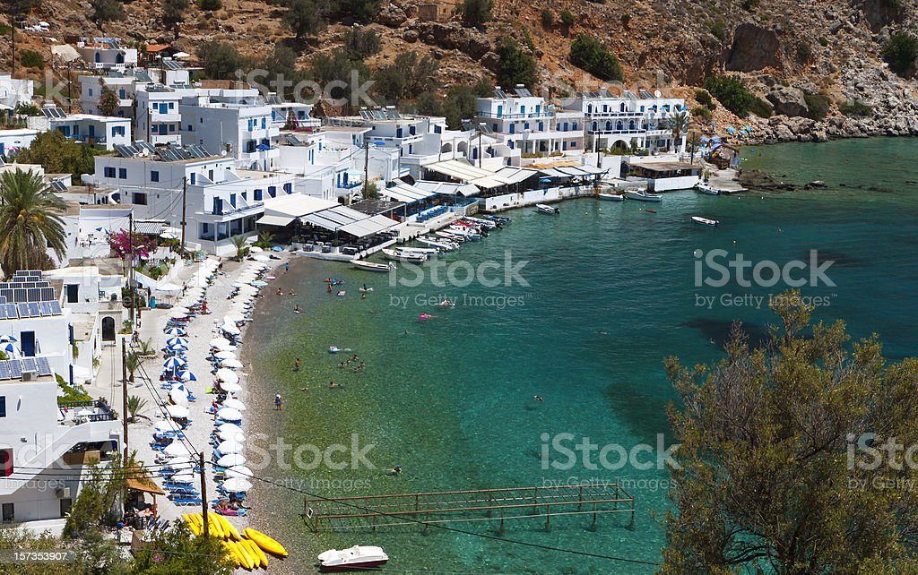 Loutro bay at Crete island in Greece stock photo