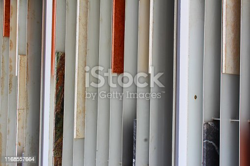 Louvered partition wall with marble slabs - Abstract architectural background