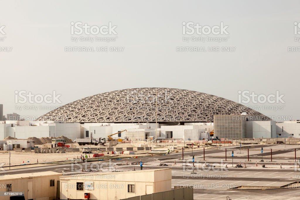 Louvre Abu Dhabi museum construction stock photo