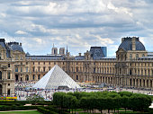Paris, France - Ferbruary 9, 2015: View of the Louvre Museum and the Pyramid at sunrise, it is one of the world's largest museums, a historic monument and a central landmark of Paris.