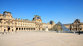 Usually crowded, the Louvre museum and the Pyramid entrance are desert during pandemic Covid 19 in Europe. There are no people and no cars because people must stay at home and be confine. Schools, restaurants, stores, museums... are closed. Paris, in France. Avril 8 , 2020.