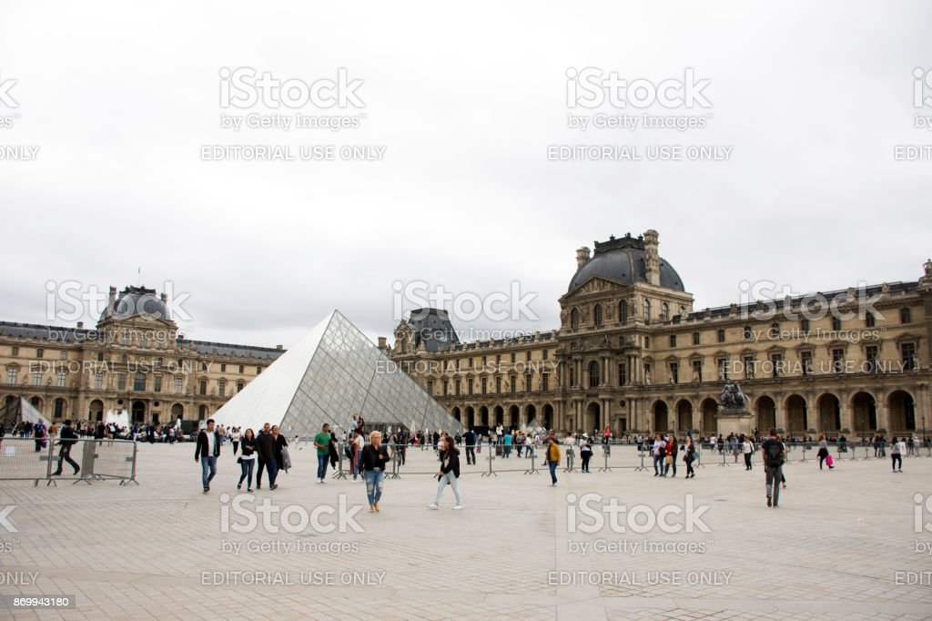 Louvre Pyramid at Musee du Louvre or the Grand Louvre Museum in Paris, France stock photo