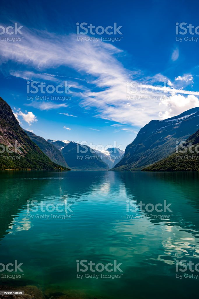 lovatnet lake Beautiful Nature Norway. stock photo