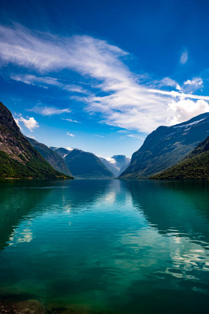 lovatnet lake beautiful nature norway. - fjord stock photos and pictures