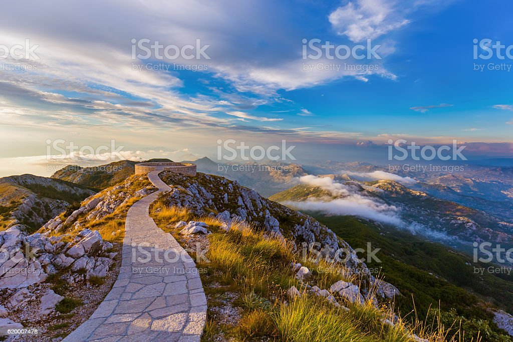 Lovcen Mountains National park at sunset - Montenegro stock photo