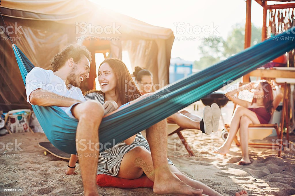 Love and friendship in the summer stock photo