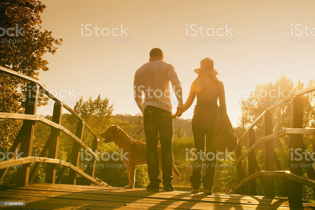 Young couple walking a wooden bridge with a dog, backlight the...