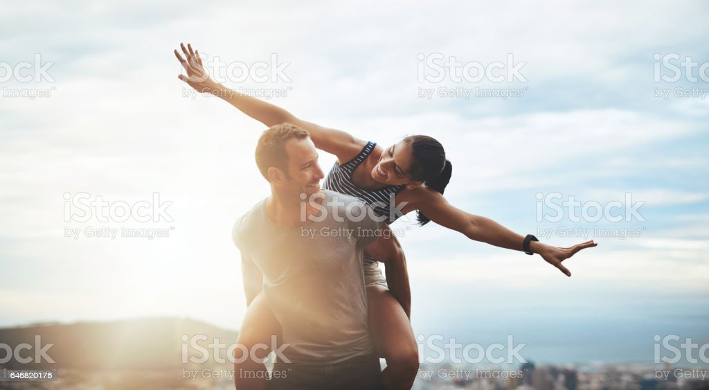 Love and life - embrace it with open arms stock photo