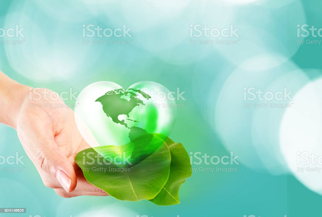 Love and Save the World for the Next Generation concept, Earth day concept stock photo