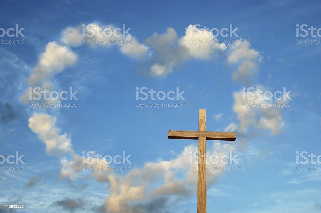 Love and the cross metaphor stock photo