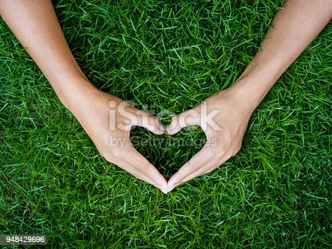 Love and Valentine's Day concept. male hand in shape of heart on green grass field background