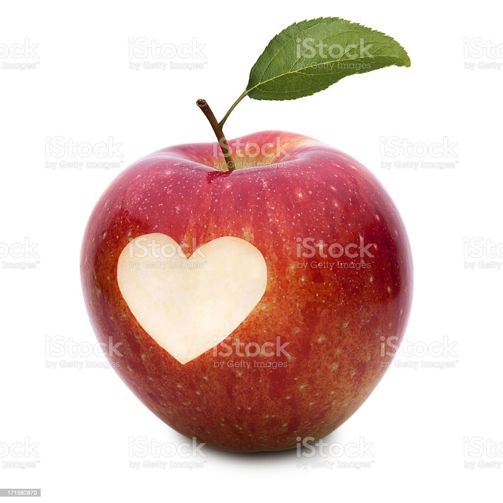 love apple with heart symbol and leaf stock photo