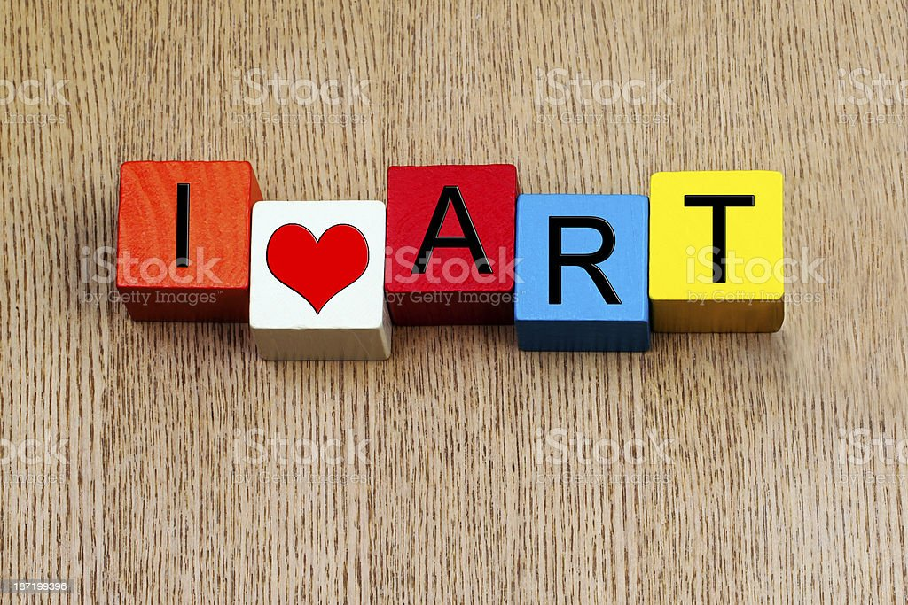 I Love Art  - sign for education, arts and culture stock photo