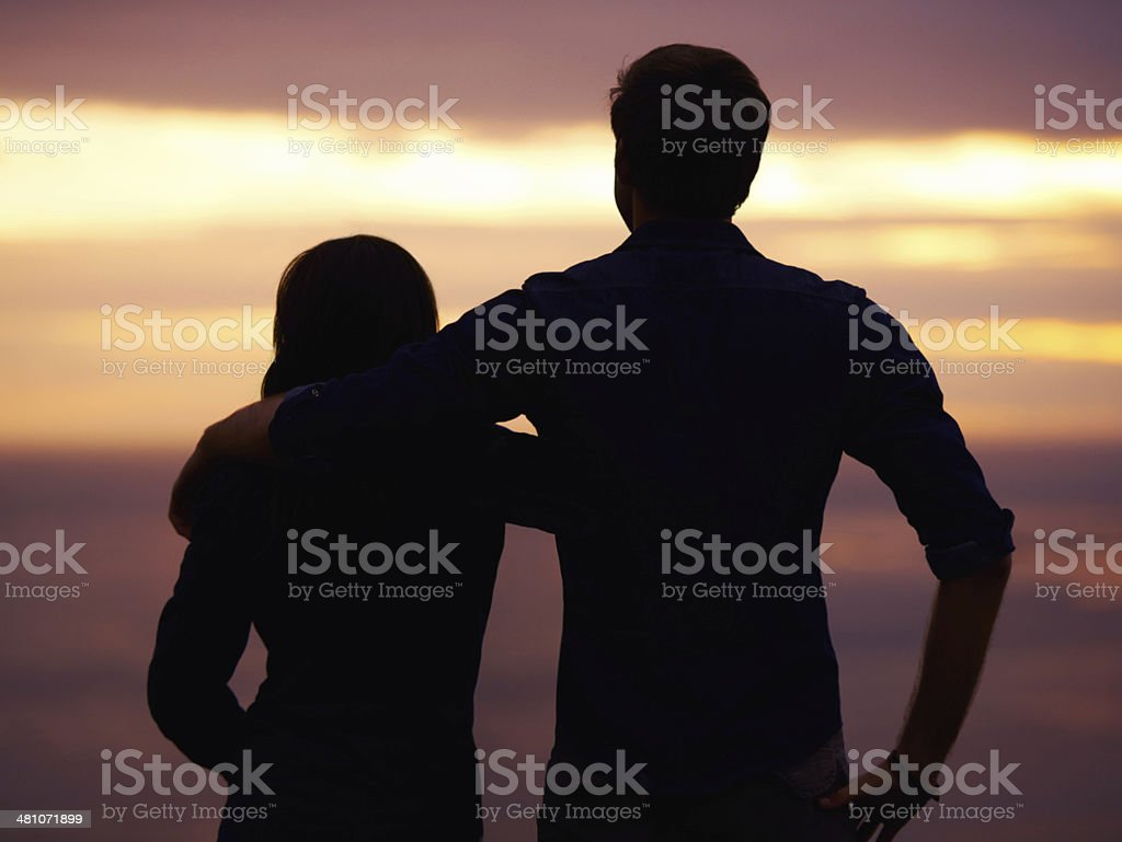 Love at sunset stock photo