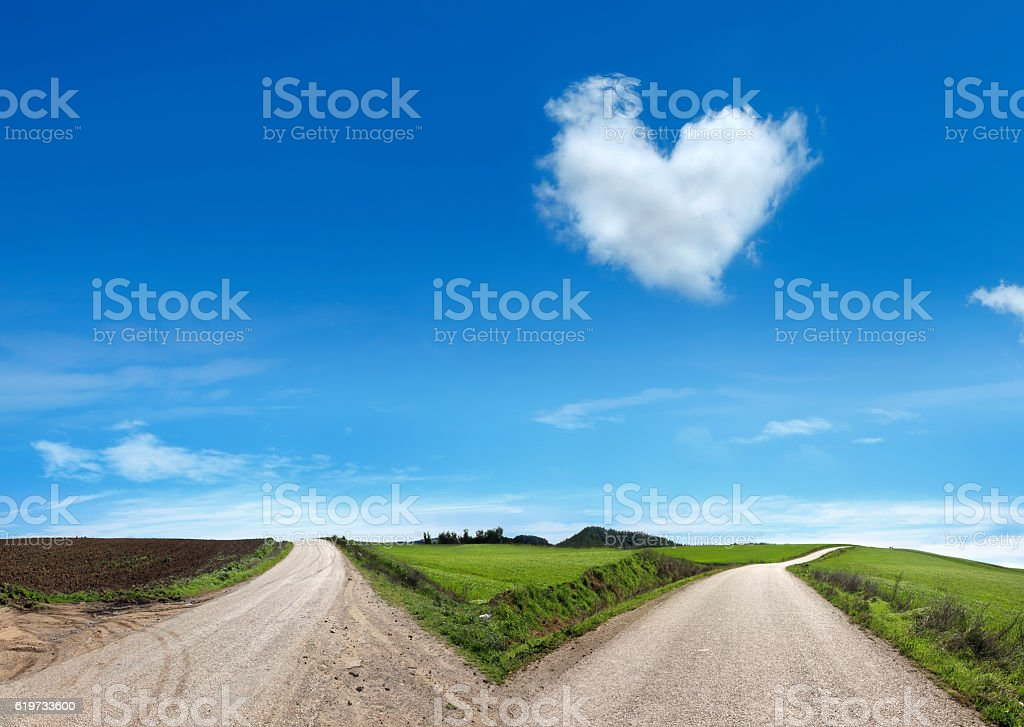 love at the end of the road stock photo