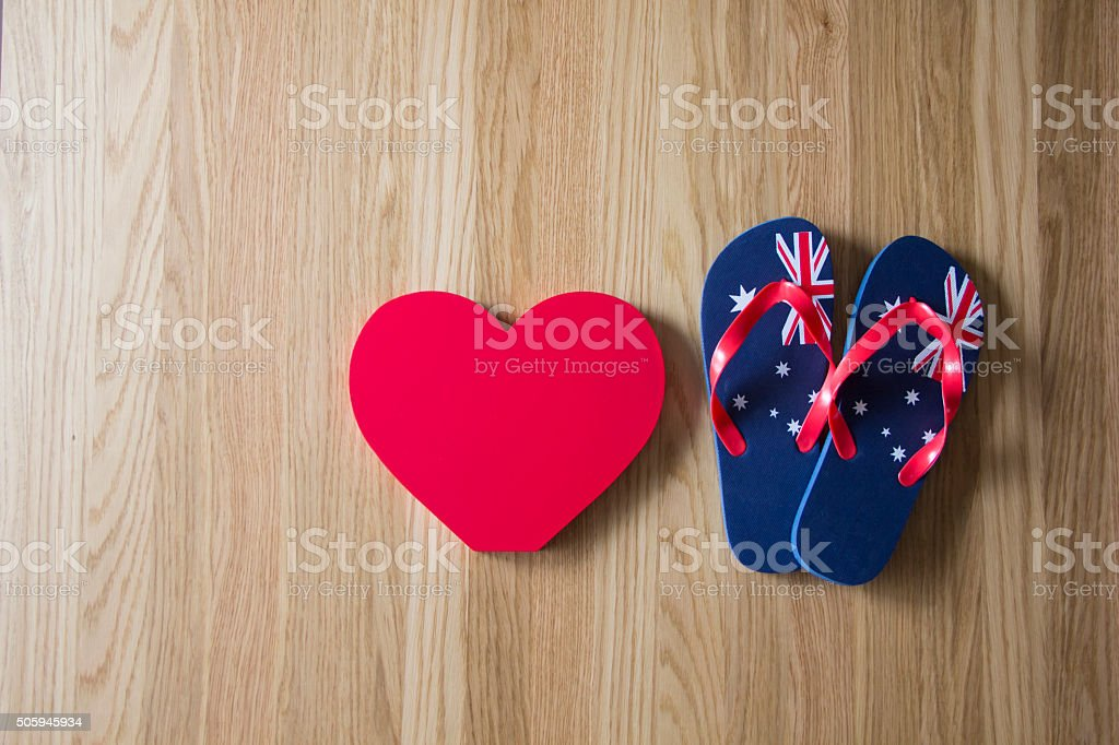 love Australia aussie thongs stock photo