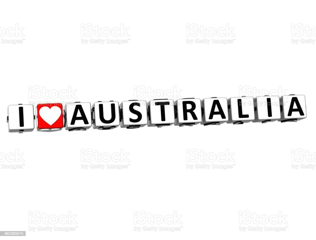 3D I Love Australia Button Click Here Block Text foto stock royalty-free