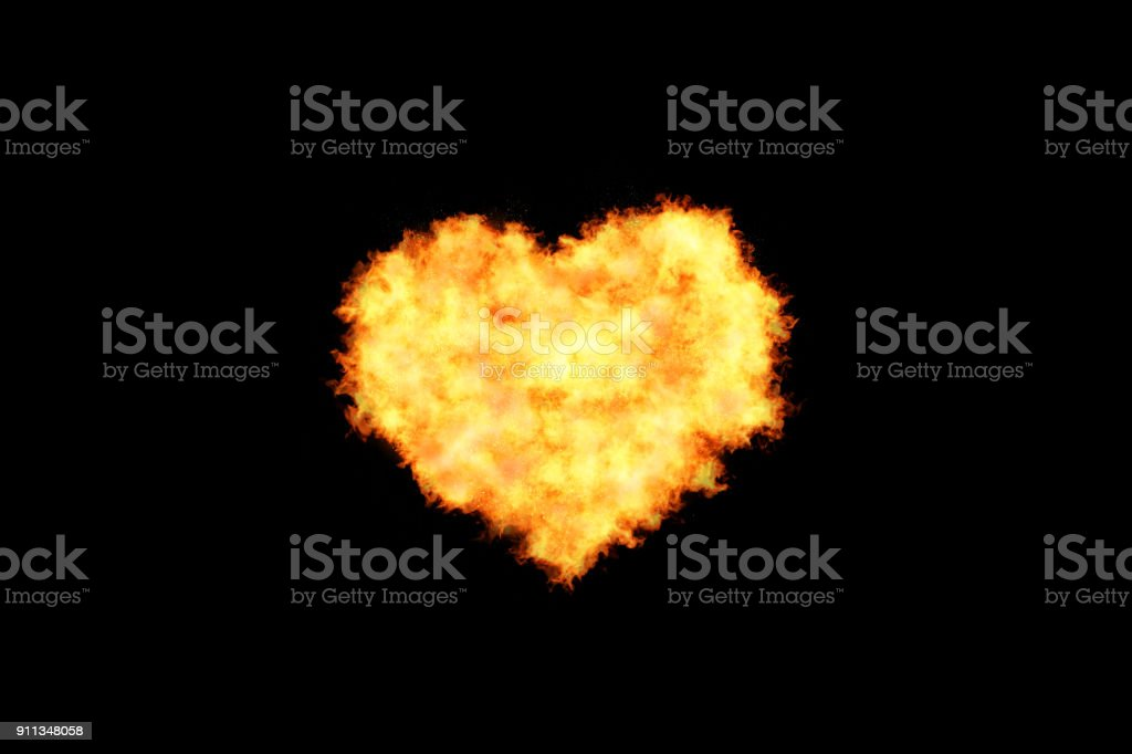 Love Background - Fire Heart Shape stock photo