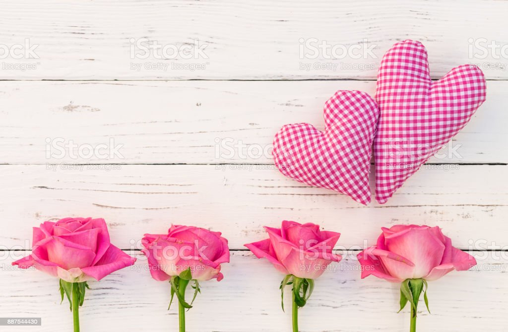 Love Background With Two Pink Hearts And Roses Stock Photo Download Image Now Istock