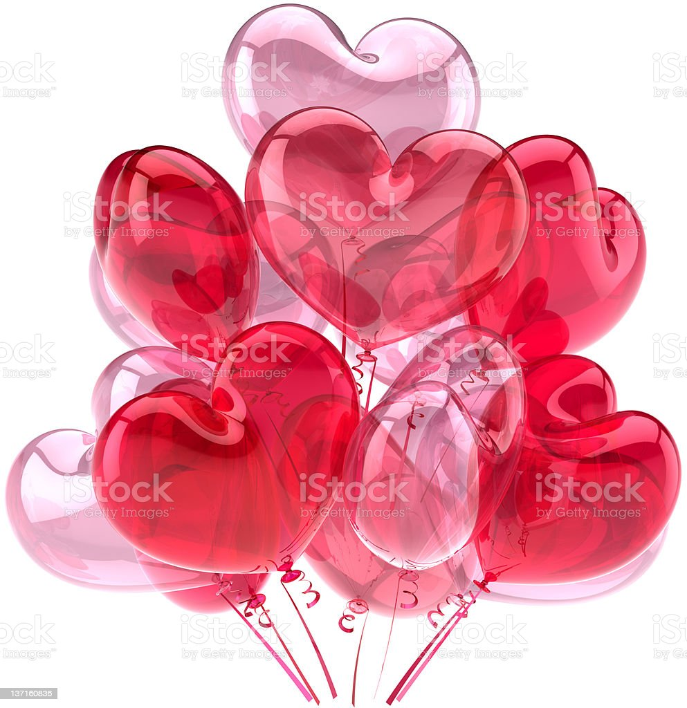 Love balloons decoration in form of heart shapes red pink royalty-free stock photo