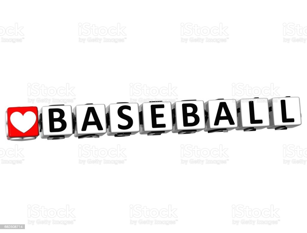 3D ben beyaz arka plan üzerinde aşk beyzbol oyun düğme blok metin royalty-free stock photo