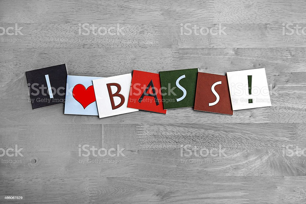 I Love Bass, sign series for guitar, music or d&b stock photo