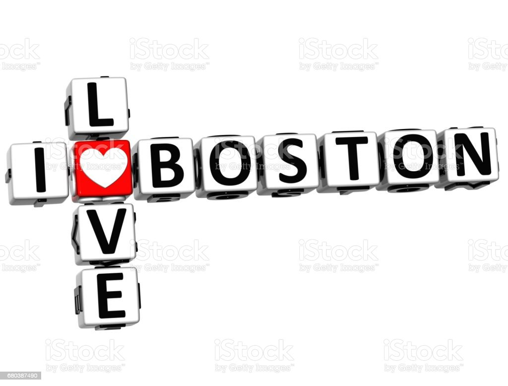 3D I Love Boston Crossword stock photo